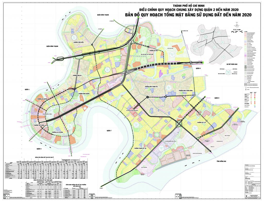 Bản đồ quy hoạch, các phường và dự án tại quận 2
