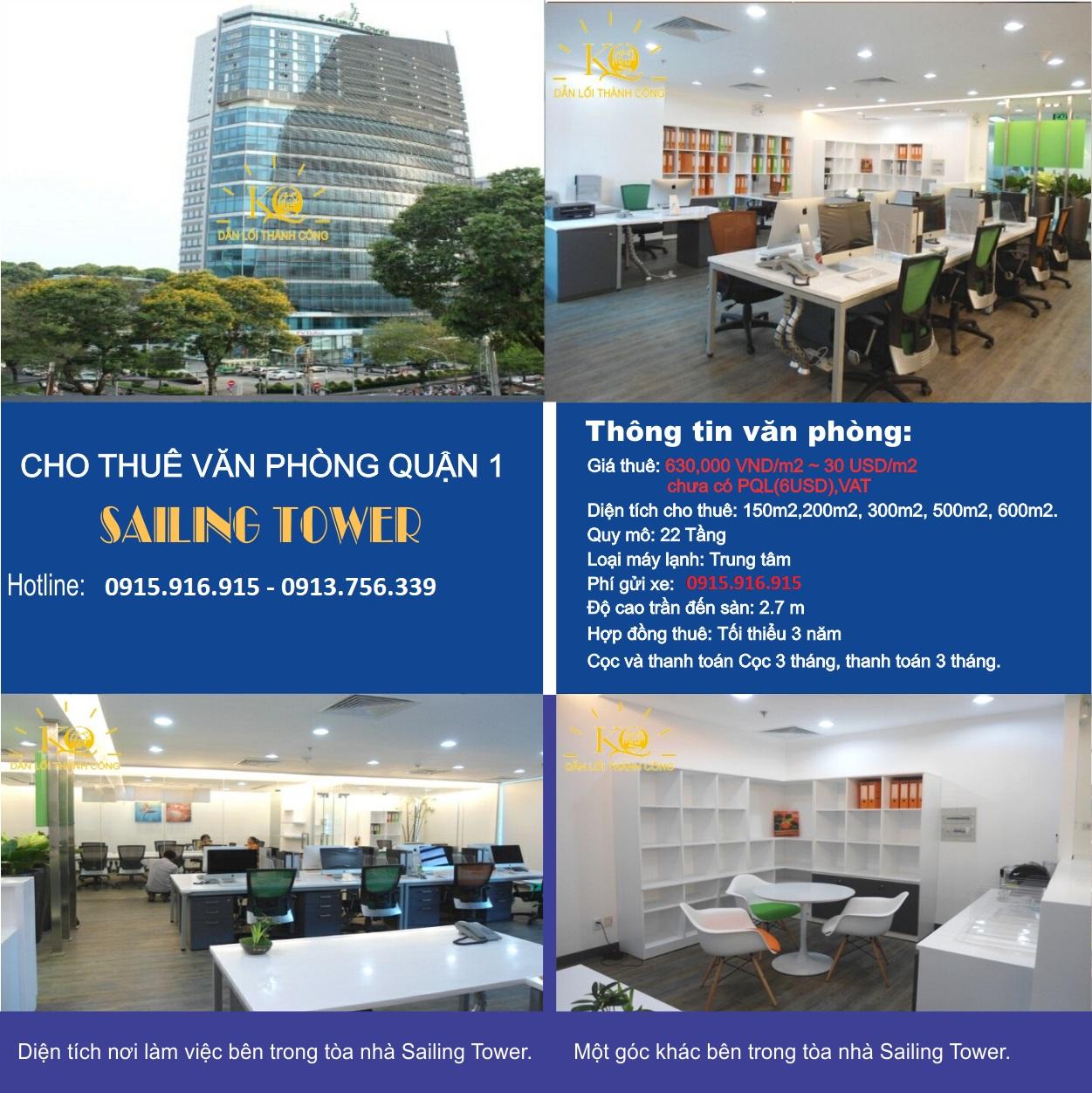Bảng giá cho thuê căn hộ chung cư và Văn Phòng Sailing Tower