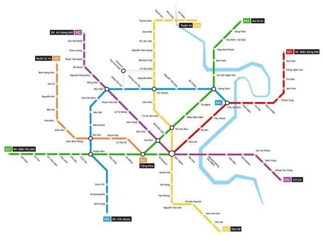 Sơ đồ các tuyến Metro trên địa bàn Thành Phố Hồ Chí Minh