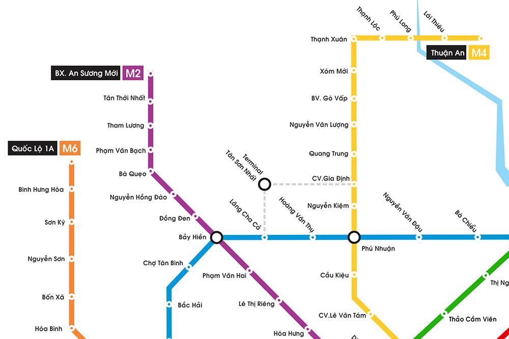 Sơ đồ các tuyến Metro trên địa bàn TP.HCM 2