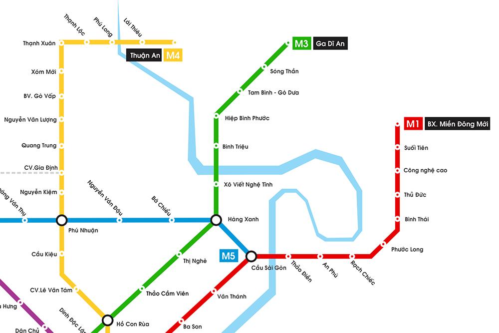 Sơ đồ các tuyến Metro trên địa bàn TP.HCM 3