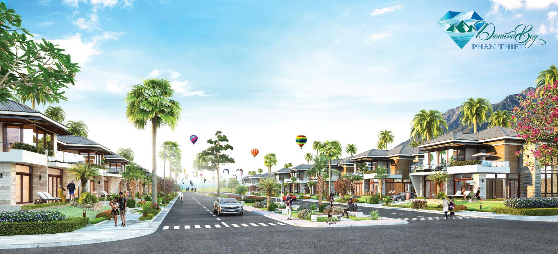 Khu dự án Diamond Bay Phan Thiết Bình Thuận cây xanh bao phủ vị trí vàng