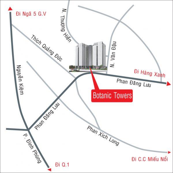 Hệ thống phòng hướng tầm view Botanic Towers cho thuê