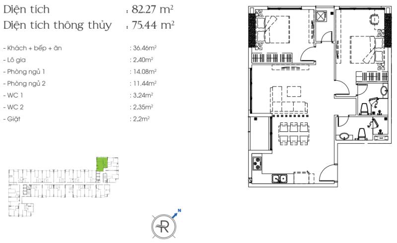 Cho thuê căn hộ chung cư Riva Park