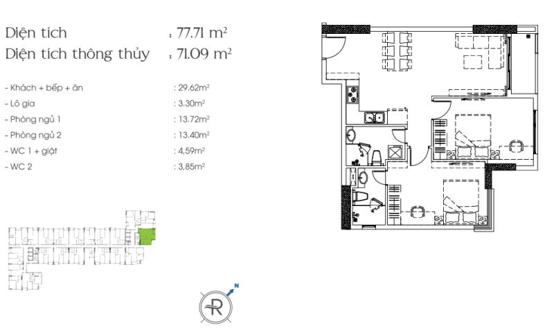 Cho thuê căn hộ cao cấp Riva Park ban công rộng thoáng nhiều tiện ích