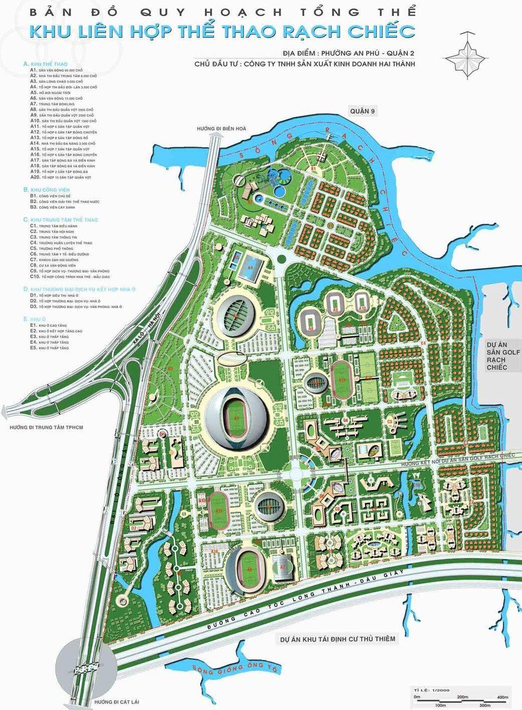 Dự án Trung tâm thể dục thể thao rạch chiếc Quận 2 - Quy hoạch và tiến độ