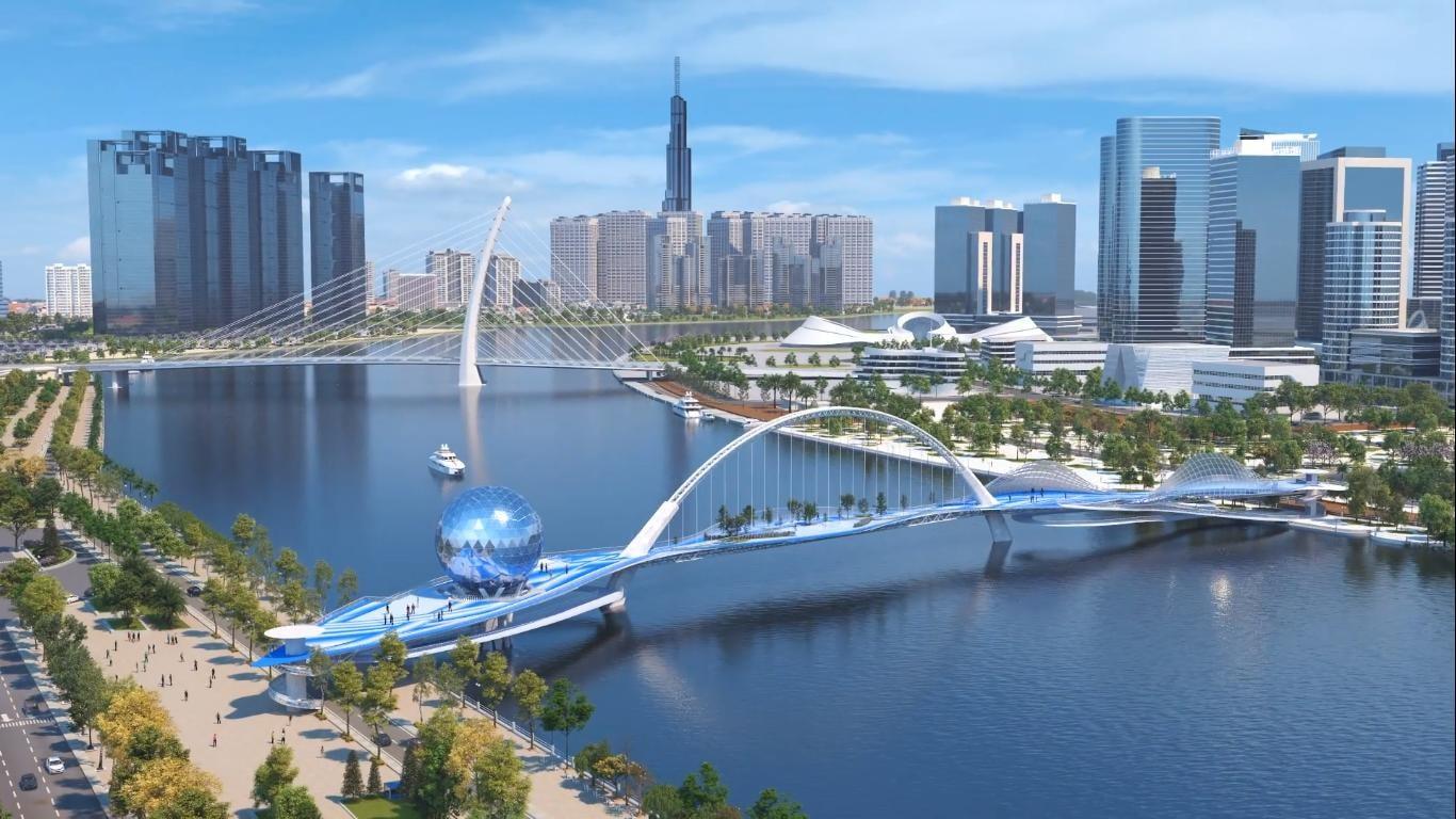 Cầu đi bộ Thủ Thiêm – Quy Hoạch Tiến độ và Thiết kế 2020