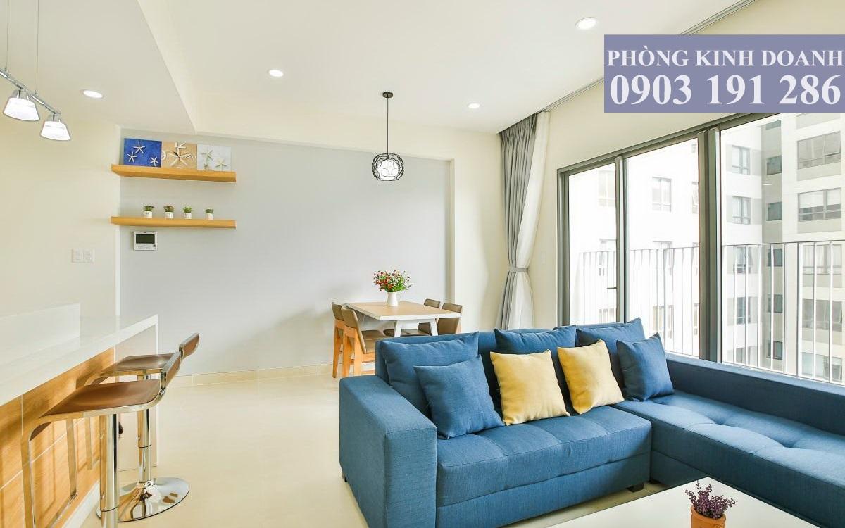 Cho thuê Masteri Thảo Điền 2 phòng ngủ lầu 8 toà T4 nội thất đầy đủ 74 m2 view hồ bơi 750 USD/tháng