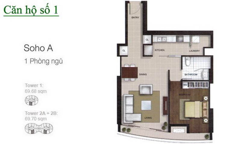 Cho thuê căn hộ City Garden 1 phòng ngủ lầu 12 tháp B2 nhà đẹp view quận 1