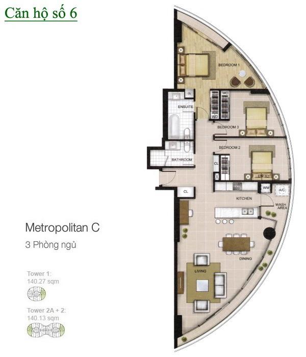 City Garden Bình Thạnh cho thuê 3 phòng ngủ lầu 24 tháp B1 nhà đẹp view quận 1