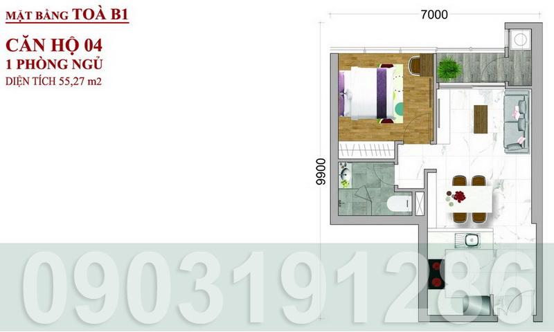 Căn hộ Sunwah Pearl Bình Thạnh cho thuê toà B1 nội thất đẹp 1 phòng ngủ view thoáng