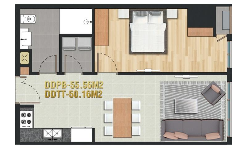 Căn hộ Pearl Plaza Bình Thạnh cho thuê 1 phòng ngủ view sông tầng 26 nội thất full