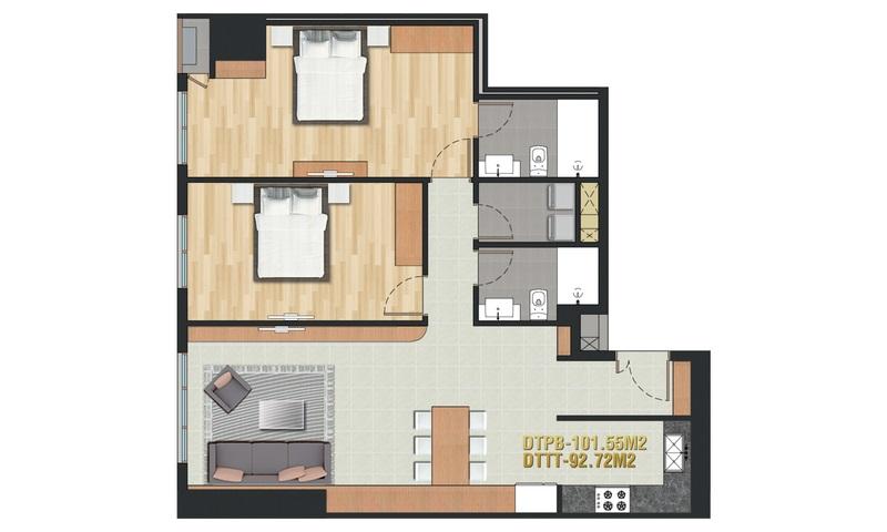 Cho thuê Pearl Plaza Bình Thạnh 2 phòng ngủ view thoáng tầng 10 nội thất cao cấp