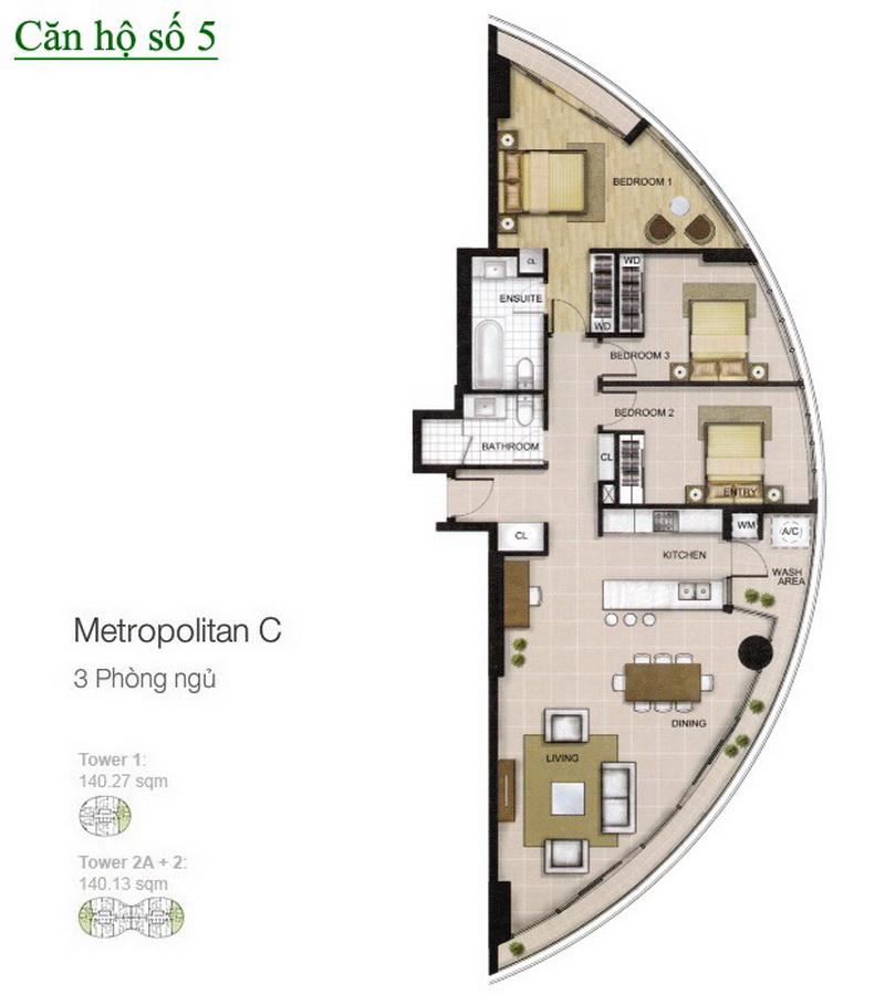 City Garden cho thuê tầng 12 tháp A có nội thất view quận 1 căn 3 phòng ngủ