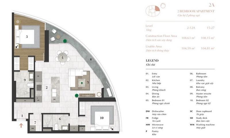 Căn hộ 2 phòng ngủ City Garden cho thuê lầu 12 tháp C nội thất full view L81