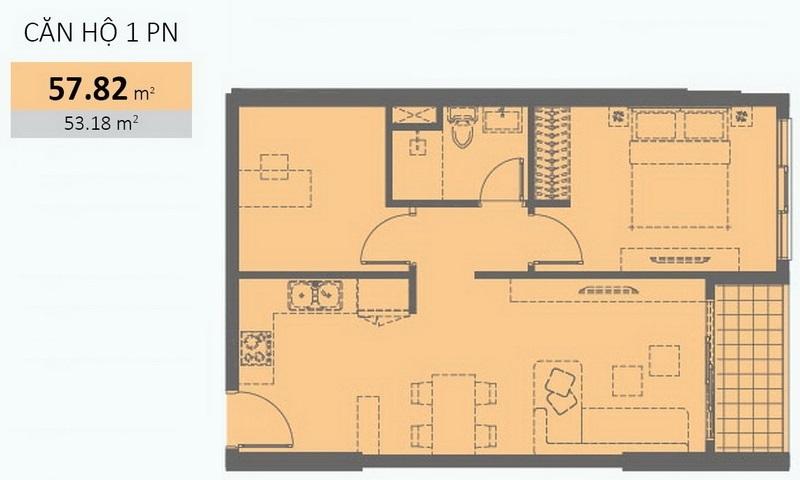 Căn hộ cho thuê Wilton Tower view hồ bơi lầu 11 toà A đủ nội thất 1 phòng ngủ