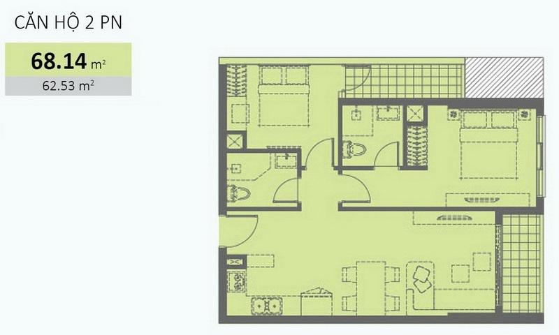 Wilton Tower cho thuê view sông lầu 15 tháp B đủ nội thất căn hộ 2 phòng ngủ